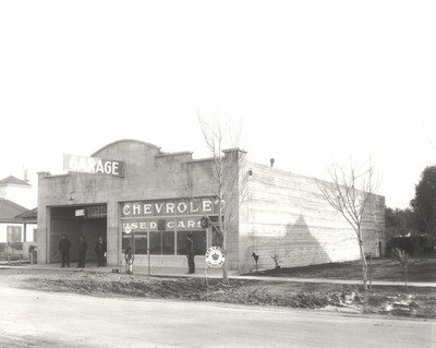 Stockton - Streets - c.1930 - 1939: Garage, Chevrolet Used Cars, Red Crown Gasoline, E. Weber Ave