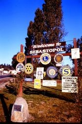 Welcome to Sebastopol sign at intersection of South Main and Petaluma Avenue, 1970