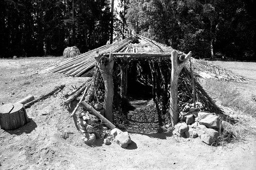 Round house entrance at Miwok Indian Village--Kule Loklo