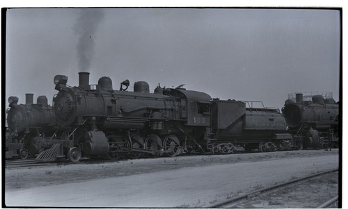 SD&A locomotive 103 at roundhouse