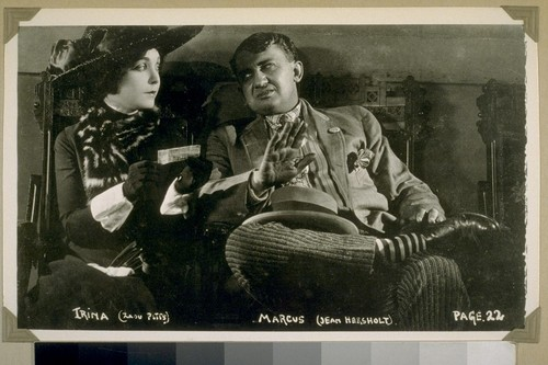 """Very uneasy, Trina bought a ticket""... Trina (Zasu Pitts). Marcus (Jean Hersholt). Page 22"
