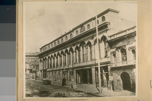 The Old Calif. Theater on the North side of Bush St. bet. Kearny & Dupont St. in 1870