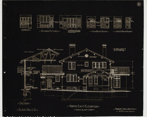 Architectural drawing for Tomasini home, 625 D Street, Petaluma, California, about 1930