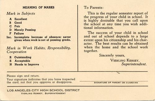North Hollywood High School report card, 1943 (back)