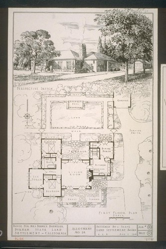 First floor plan - perspective sketch - House for Mrs. Bernice Bahmeier, Durham State Land Settlement - California, Allotment No. 26, Designed by State Land Settlement Board, Aug. 2, 1918