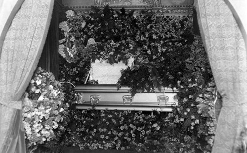 Casket at funeral of Theodore Plunkett