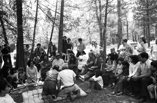 Large group gathered in circle at the Greenville Bear Dance--1972