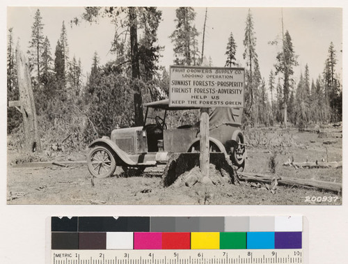 Fire prevention sign at junction of road to logging camps with Susanville-Pittville road