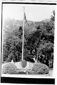 Flag pole at the entrance to Italian Swiss Colony
