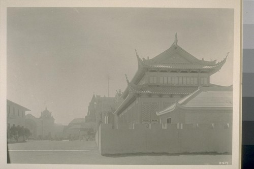 H217. [Chinese Pavilion, right foreground; Pavilion of Bolivia (left) and Swedish Building (center) in distance.]