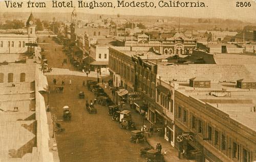 Calisphere View From Hotel Hughson Modesto California 2806