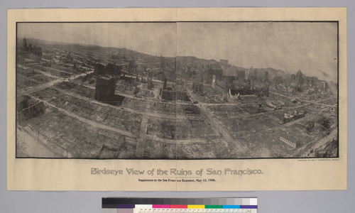 Birdseye View of the ruins of San Francisco. Supplement to the San Francisco Examiner, May 13, 1906