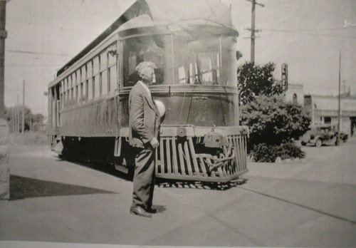 Passenger car of the P&SR electric railway in front of the Sebastopol depot, circa late 1920s
