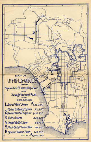 Map showing proposed sewers