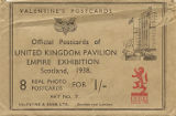 Valentine's Postcard: Official Postcards of United Kingdom Pavilion, Empire Exhibition - 8 Real Photo Postcards