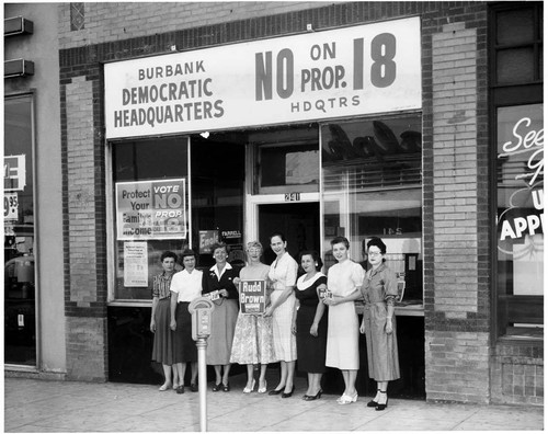 "Burbank field office, ""No on Proposition 18"" campaign, 1958"