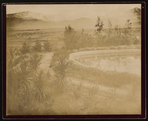 Panorama, Reflecting Pool and Gardens, Redlands, California (A)