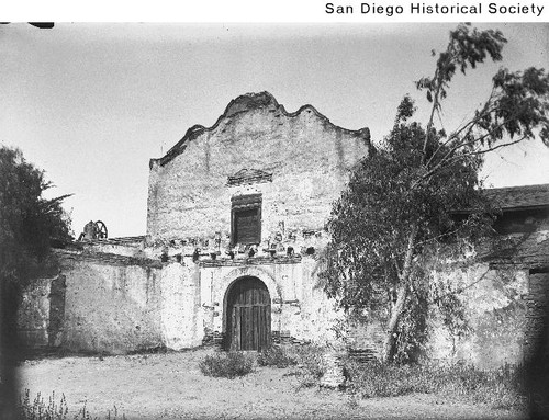 Exterior of the Mission San Diego de Alcala prior to restoration