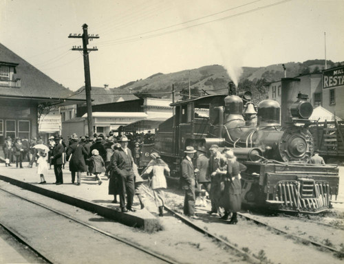 Mt. Tamalpais and Muir Woods Railroad at Mill Valley station, Marin County, California, circa 1922 [photograph]