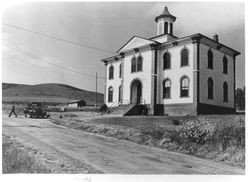 Two-story Potter School with a distinctive cupola in Bodega, California built in 1873