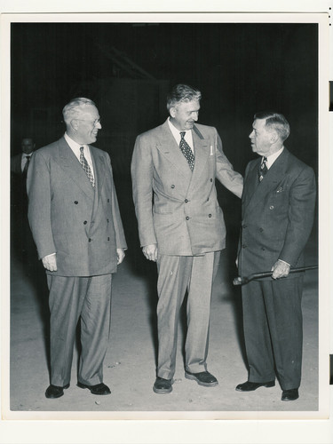 Governor Earl Warren, UCLA Medical School Dean Stafford L. Warren, and UC Regent Edward A. Dickson, ca. 1951