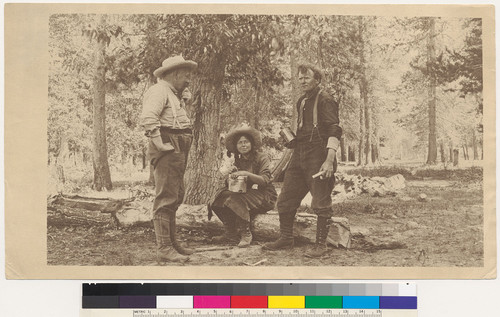 [Marion and Edward Parsons and unidentified man on an outdoor excursion.]