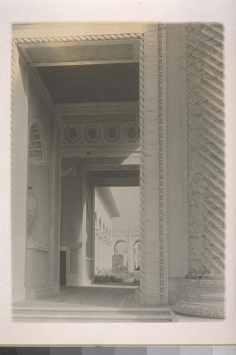 [Beneath Arch of the Rising Sun, Court of the Universe (McKim, Mead and White, architects), looking into Florentine Court and Court of Abundance.]