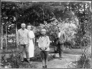 Missionary Blumer and his family with Mr. Gärtner, Arusha, Tanzania, 1927