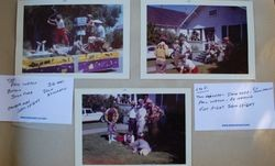 Four Sebastopol Lions Club scrapbook photos of their float for an Apple Blossom parade, about 1960s