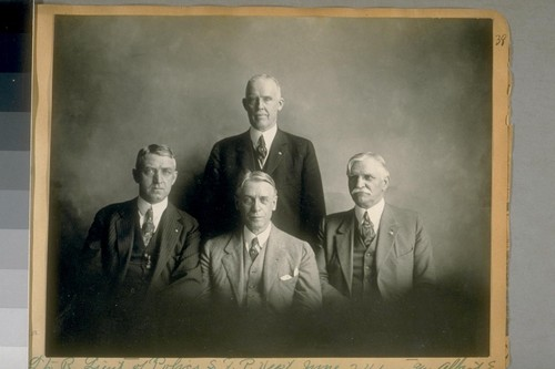 L. to R.: Lieut. of Police, S.F.P. [San Francisco Police] Dept., June 24/22 and Albert E. Cameron, Memphis, Tenn. - Jesse B. Cook Police Commissioner, and standing, Capt. of Detectives Duncan Matheson