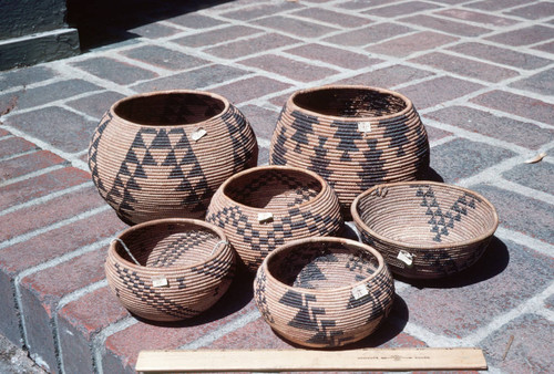 Brier root baskets--six Bidwell Mansion State Historic Park baskets showing various sizes, shapes, and designs
