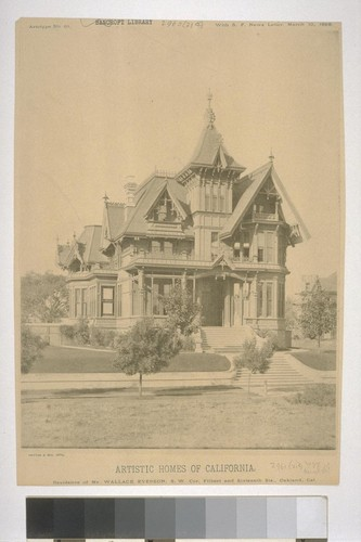 "Residence of Mr. Wallace Everson, S. W. Cor. Filbert and Sixteenth Sts., Oakland, Cal., Artotype No. 61, with ""S. F. News Letter,"" March 10, 1888"