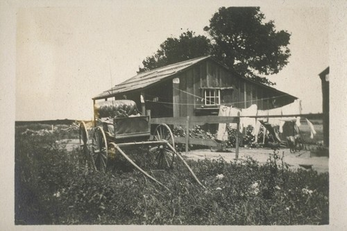 Jap laborer's house on ranch. [Housing for Japanese laborers on a ranch.]