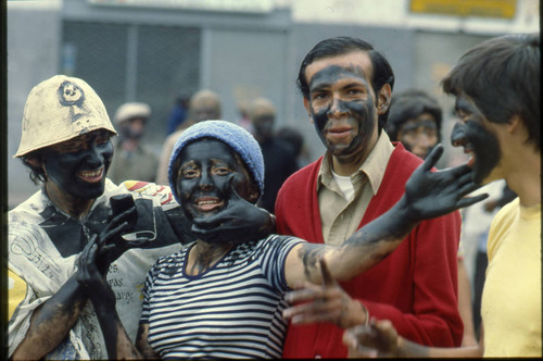 Painted faces at the Blacks and Whites Carnival, Nariño, Colombia, 1979