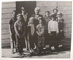Students and teacher (middle) of Watson School, Bodega, California, 1967