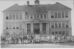 New Sebastopol Grammar School with large number of students standing in front of the building, May 2nd, 1910