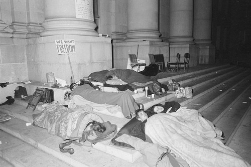 Demonstrators asleep on the steps of Sproul Hall during sit-in the night of Dec. 2nd