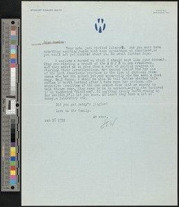 Stewart Edward White, letter, 1932-02-26, to Hamlin Garland