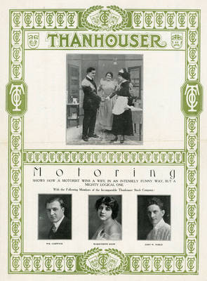 "Thanhouser advertisement for ""Motoring,"" 1911"