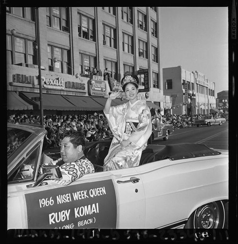 Nisei Festival Week Queen rides in parade through Little Tokyo, Los Angeles 1966, 1966