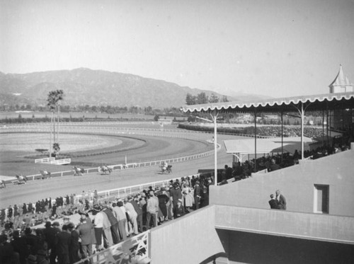 Track, grandstands and parking lot, Santa Anita Racetrack