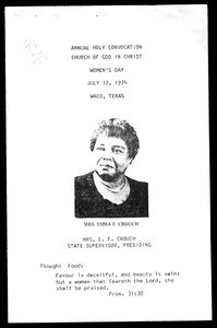 Women's day program, COGIC, Waco, Texas, 1974