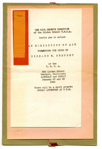 Calisphere invitation to exhibition of art of presenting the works invitation to exhibition of art of presenting the works of richard w dempsey at the stopboris Image collections