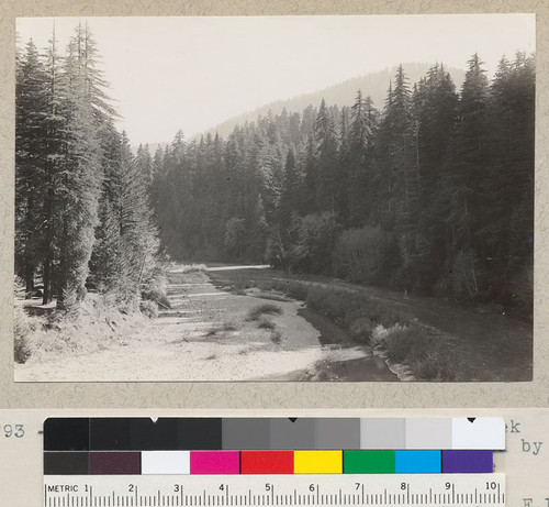 "Eel River, South Fork. From Bull Creek Flat Road. Mouth of Bull Creek marked by streak of sunlight coming through the Creek canyon. (1/2"" - 11). March 31, 1935. E. F"