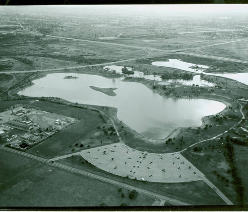 Aerial view of Legg Lake at Whittier Narrows Recreation Area