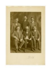 Isidore B. Dockweiler and men possibly at Newman Club, circa 1900