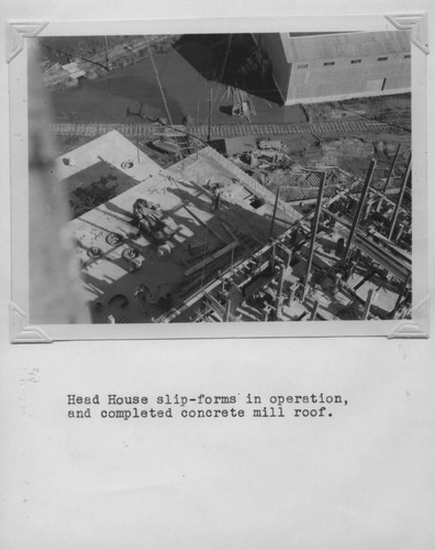 Head house slip-forms in operation, and completed concrete mill roof at the Poultry Producers of Central California Petaluma site, ca. 1938