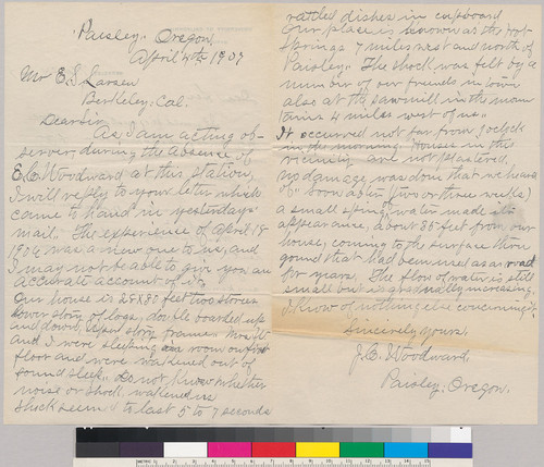 Letters between E.S. Larsen Jr and J. Woodward: March 24, 1907 and April 4 1907