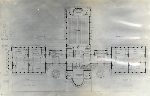 Calisphere blueprint of grammar school buildings showing first blueprint of grammar school buildings showing first floor and playground area coronado 1912 malvernweather Images