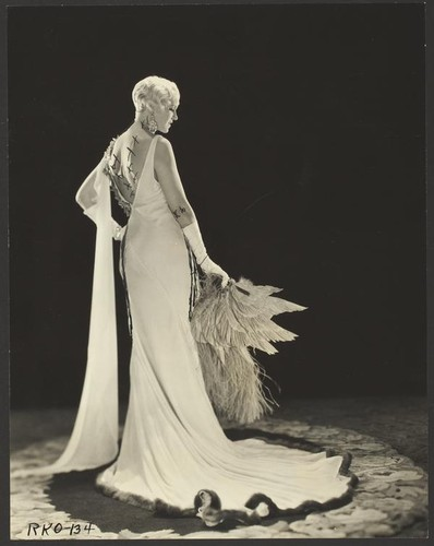 Peggy Hamilton modeling a Dolly Tree gown of chiffon velvet, 1931